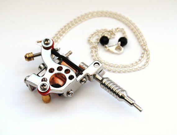 Silver Tattoo Machine Pendant Necklace  by RockerDollJewellery, £12.99