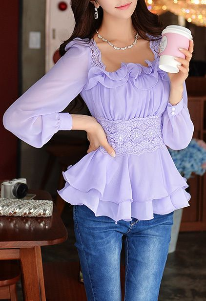 Morpheus Boutique - Light Purple Ruffled Collar Lace Word Set Auger Long Sleeve Tops, $89.99 (http://www.morpheusboutique.com/light-purple-ruffled-collar-lace-word-set-auger-long-sleeve-tops/)