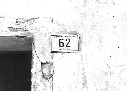 Building number, Mandas, Sardinia, Italy