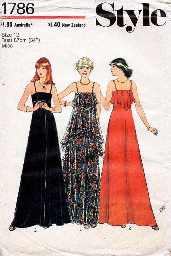 1970s+cocktail+maxi+dress+pattern | 1970s Maxi Evening Dress Pattern Style 1786 Vintage Sewing Pattern ...