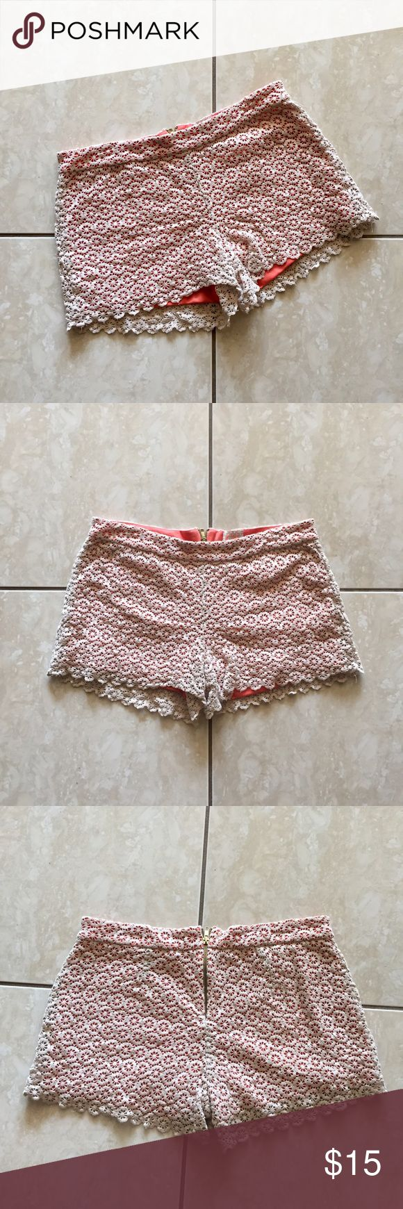 coral crochet lace shorts coral with cream crochet lace shorts . light and airy , in perfect condition ! don't hesitate to ask questions or make offers 😄 GB Shorts