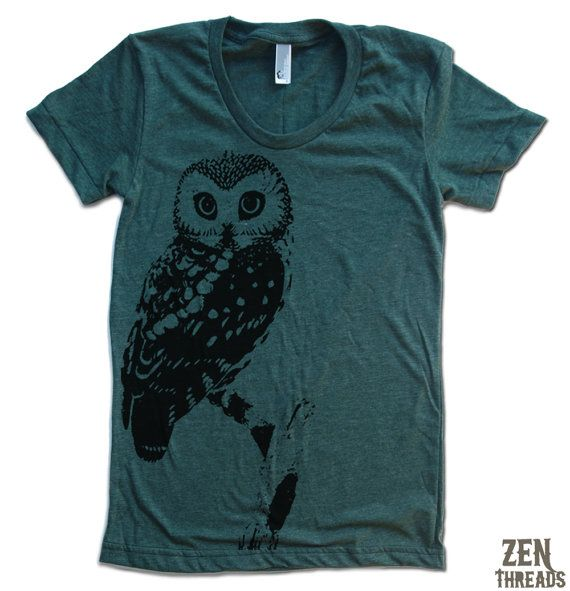 Womens URBAN OWL T Shirt american apparel S M L XL (15 Colors Available)