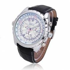 JARAGAR Automatic Mechanical PU Band Big Dial Quartz Watch