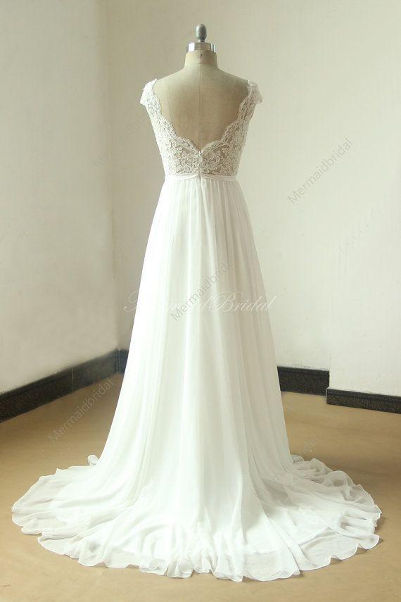 Ivory A line chiffon see thru sheer lace wedding by MermaidBridal