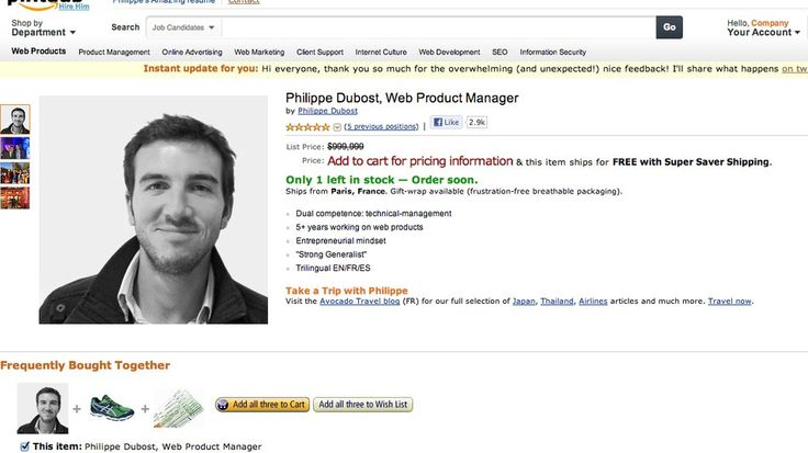 We don't actually know if Philippe Dubost is any good at his job. But boy, can he throw together a resume. Dubost, a web product manager currently based in Paris, is looking to ...
