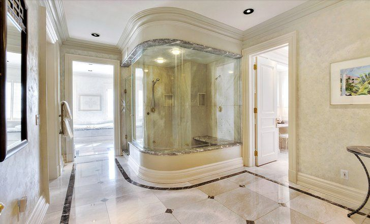 Pin for Later: Regina George's Mean Girls Mansion Just Hit the Market For $14.8M  The six-piece, ensuite master bathroom has marble counters and heated flooring.