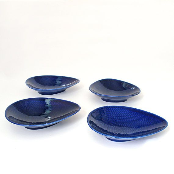 Vintage RØRSTRAND Bla Eld  Blue Fire Dishes Set by RattyAndCatty, $280.00