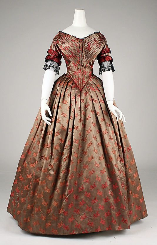 Silk brocade evening dress, c1840s