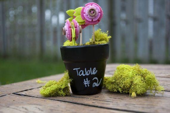 diy chalkboard flower pots for the bridal shower