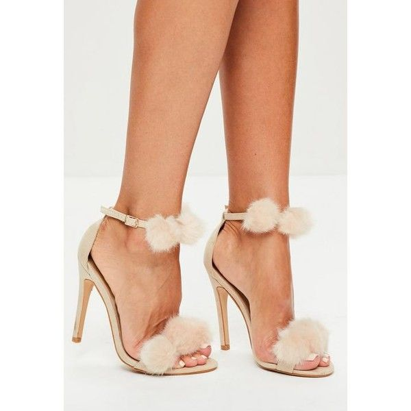 Missguided Pom Pom Double Strap Heeled Sandals ($57) ❤ liked on Polyvore featuring shoes, sandals, nude, pom pom heeled sandals, fleece-lined shoes, nude heeled sandals, missguided shoes and nude sandals