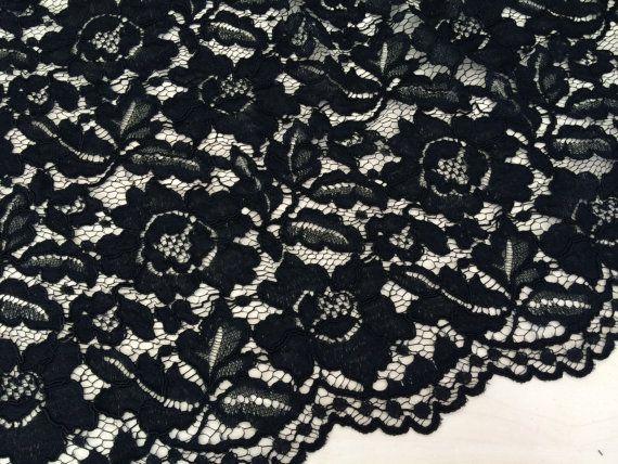 Black lace fabric - spanish style, black  Alencon lace fabric