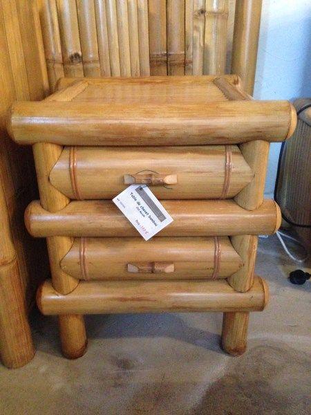 Mobilier en bambou table de chevet en bambou bambou - Table de chevet en bambou ...
