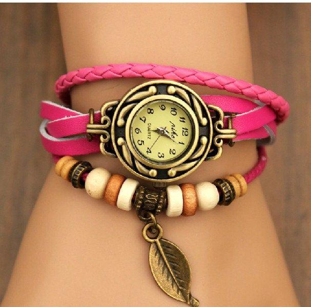 pink leather wrist watch