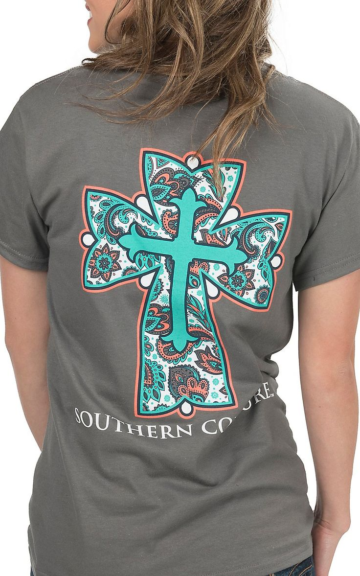 Southern Couture Women's Charcoal with Paisley Cross Short Sleeve Tee | Cavender's
