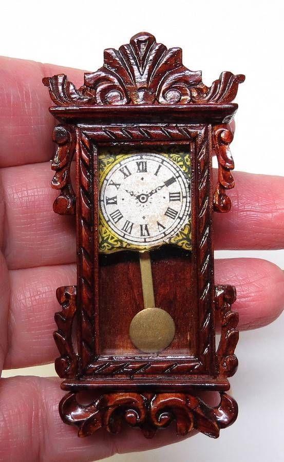 Vtg DOLLHOUSE Miniature Wood ANTIQUE Victorian Style WALL CLOCK