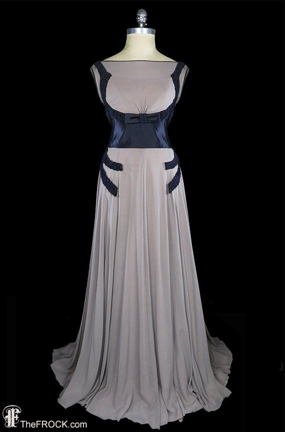 Vampy 1930s art-deco gown, blue silk satin dress georgette, authentic antique couture, gray chiffon,
