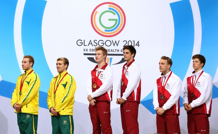 Gold medalists Jack Laugher (3rdL) and Chris Mears (3rdR) of England pose with Silver medalists Matthew Mitcham (L) and Grant Nel (2ndL) of Australia and Bronze medalists Nick Robinson- Baker (2ndR) and Freddie Woodward (R) of England