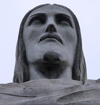 The statue itself is 130 ft. tall and weighs 700 tons.