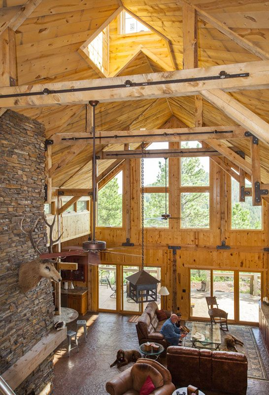 Natural Lighting In A Wood Barn Home Rustic Interior  Www.sandcreekpostandbeam.com Https: