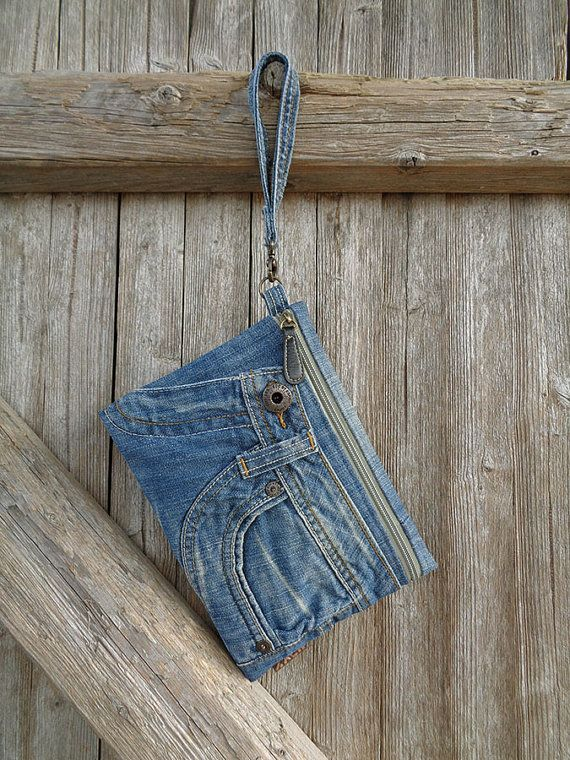 Pantalones vaqueros embrague bolso de mano de maquillaje
