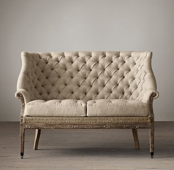 Deconstructed 19Th C. English Wing Settee Upholstered | Ottomans | Restoration Hardware