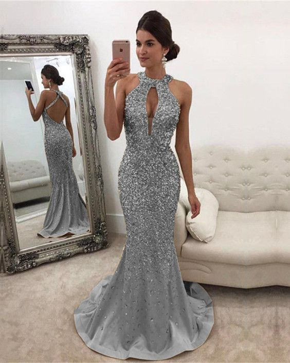 Long Silver Gray Satin Halter Mermaid Prom Dresses Crystal Beaded Evening  Gowns 2018 0892ef8f79d2