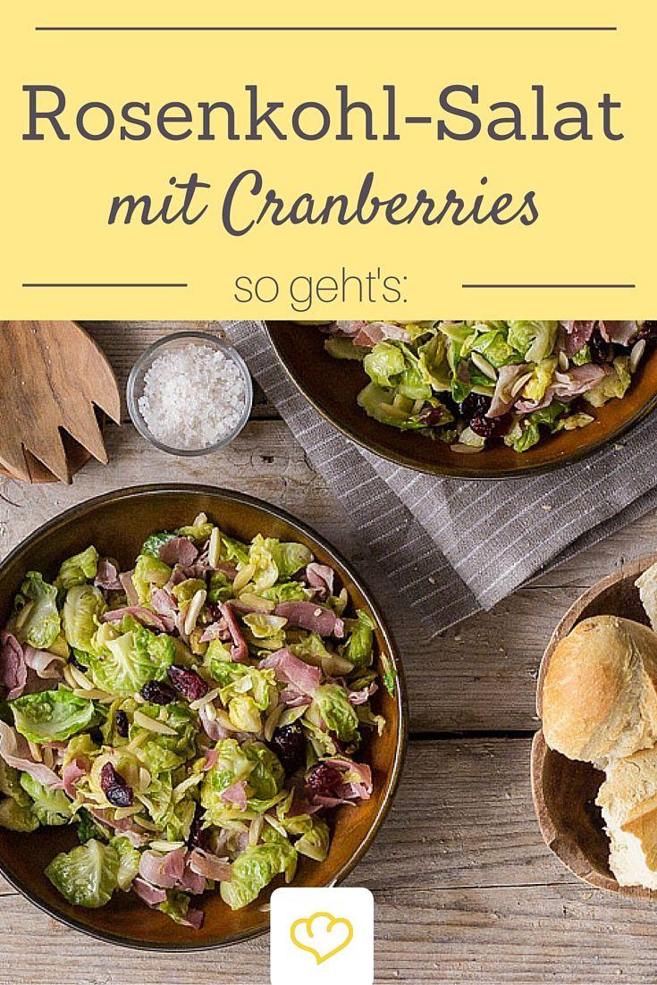 Blitz-Schnell zubereitet: Rosenkohl-Salat mit Cranberries und Pancetta.