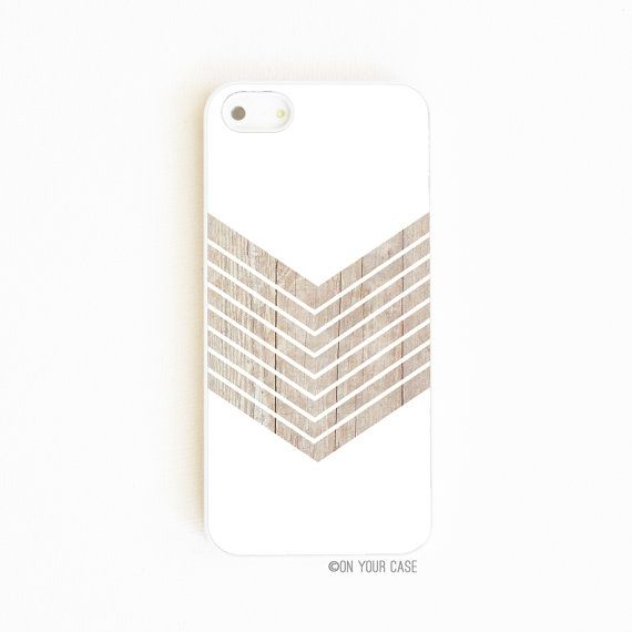 iPhone 5 Case iPhone 5S Cases White Geometric Minimalist with Wood Grain