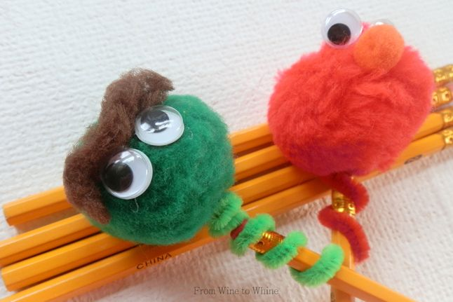 Sesame Street Pencil Toppers - http://www.pbs.org/parents/crafts-for-kids/sesame-street-pencil-toppers/