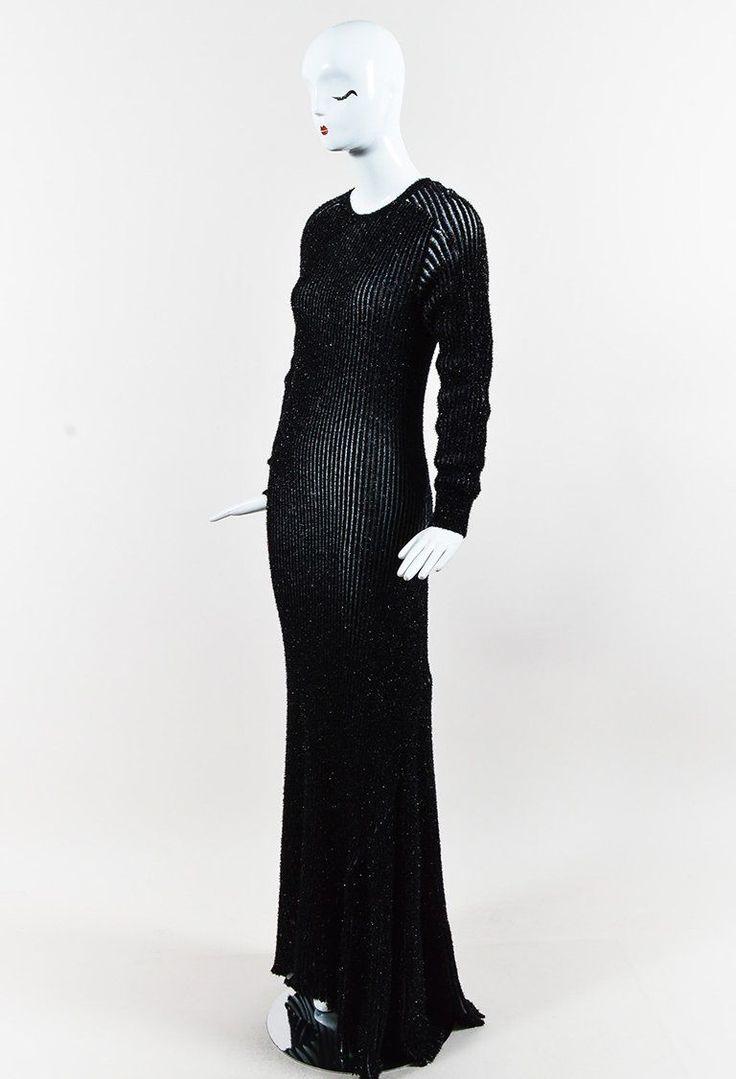 """Loewe Black White """"Lurex Rib"""" Long Sleeve Maxi Dress"""