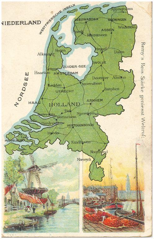 Plattegrond van Nederland met onder afbeelding van molen en haven