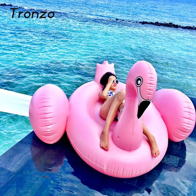 Tronzo 150 CM Rosa Flamingo Inflável Piscina Flutuante Brinquedos Gigante Piscina Anel de Natação Para Adultos Água Flamingo Férias Fontes Do Partido
