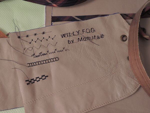 Bordado con maquina de coser sobre piel. Bolso Willy Fog Momita