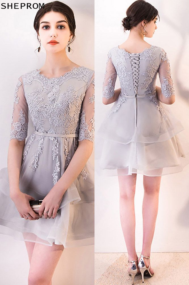 e5bb56d515e Grey Lace Ruffled Short Homecoming Dress Aline with Sleeves -  58.65 ...