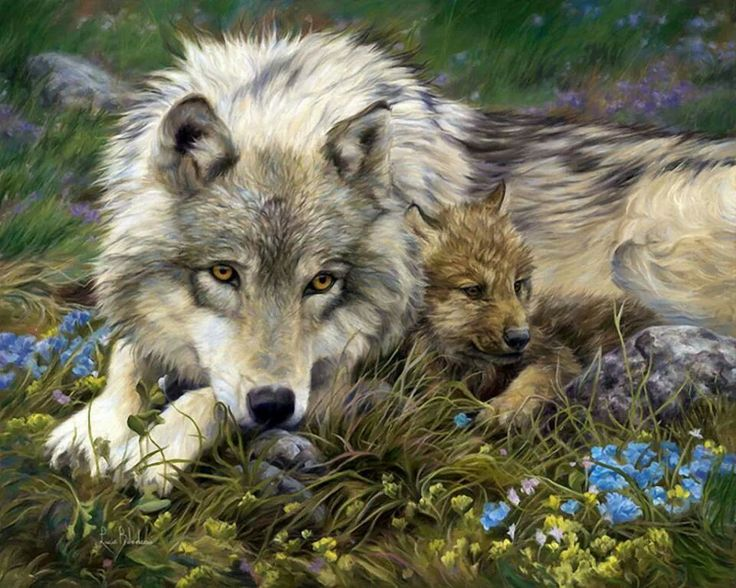Wolf and pup painting by Lucie Bilodeau wildlife artist.
