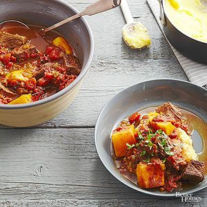 Butternut squash may be tough on the outside but the winter vegetable becomes rich and tender when slow-cooked with spiced beef.