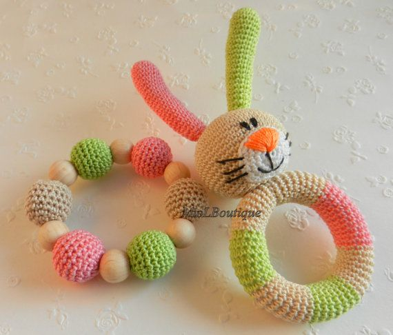 Crochet baby toy SET of 2 Teething baby toy. Grasping and Teething Toys. Bunny. Stuffed toys. gift for baby!