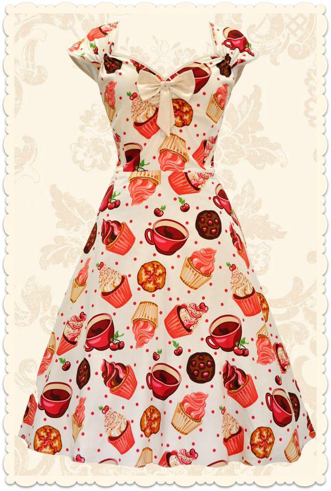 Robe rétro pin-up Isabella Lady Cupcake crème - Toutes les robes/Robes évasées - Lady Vintage - missretrochic.com