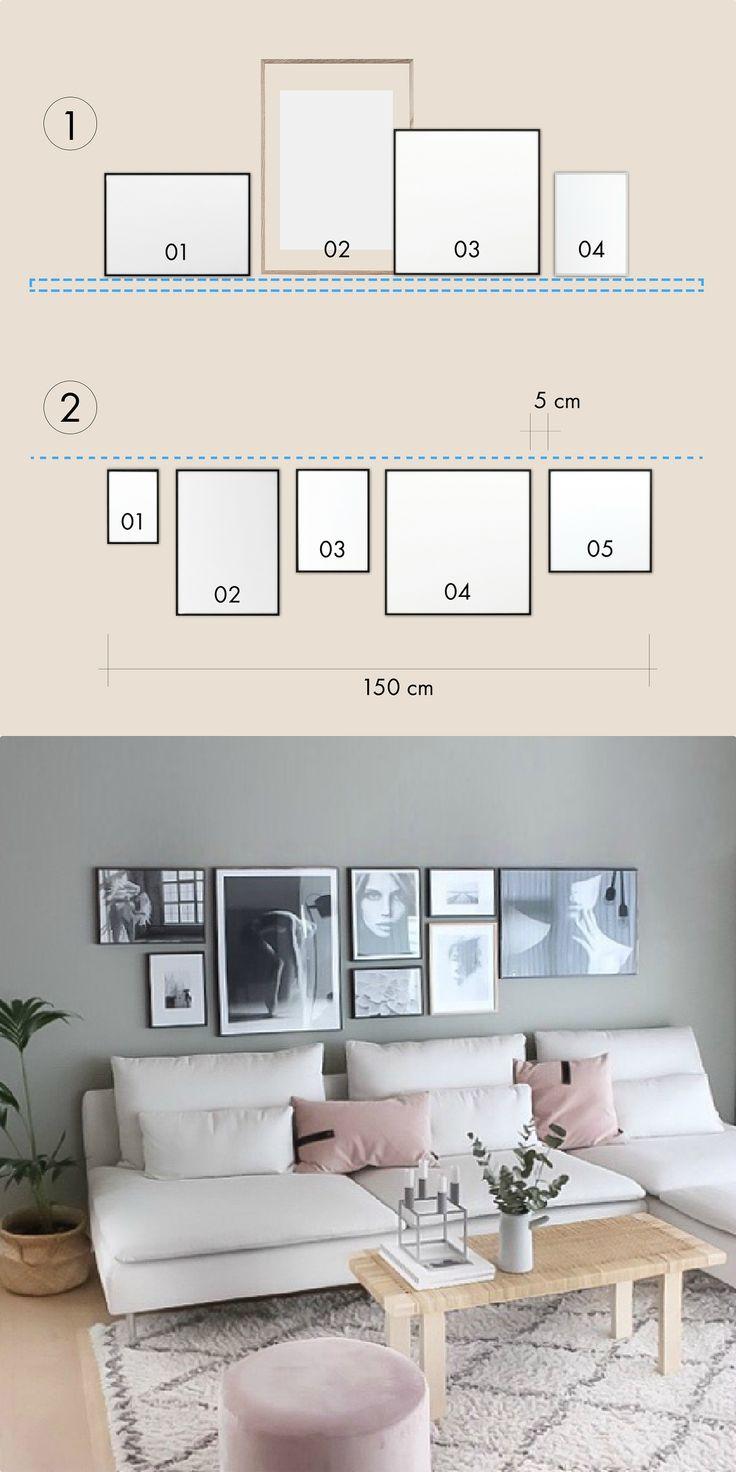Bilderwand im Wohnzimmer gestalten