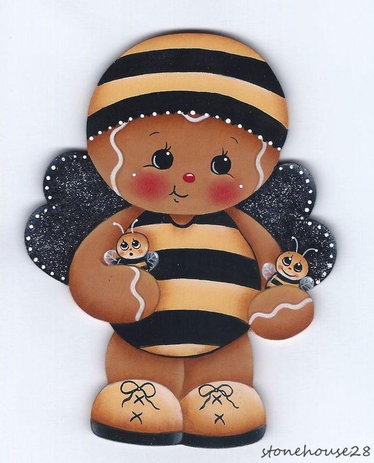 HP GINGERBREAD Bee FRIDGE MAGNET #Handpainted