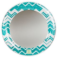 Blue Chevron Glitter Locker Mirror...perfect for when you don't have time to run to the bathroom!
