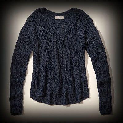 Hollister レディース ニット  ホリスター Avalon Sweater セーター ★シンプルなデザインで色んな着回しがしやすいセーターです。 ★ヴィンテージウォッシュがコーディネイトしやすくて個性的な古着っぽい味がでてお洒落。