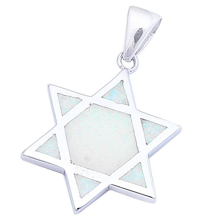"White Opal Star Of David Jewish Star Pendant Charm Solid 925 Sterling Silver Lab White Opal Jewish Star of David Jewelry 1.1"" Long"