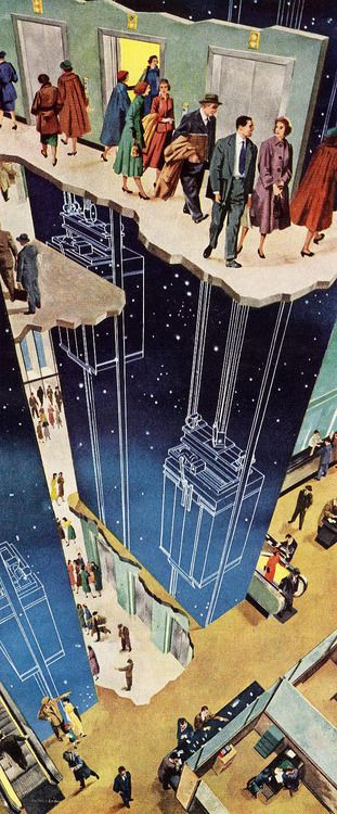Fun with the mid-century everyman...  images from 1946-1963!  1952 Otis Elevator