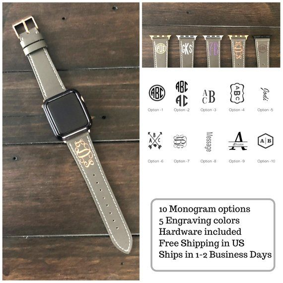 Monogram Apple Watch Band 42mm Series 4 Personalized Apple Etsy Apple Watch Bands 38mm Apple Watch Band Watch Bands