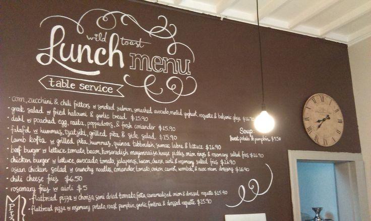 Chalk menu design for Wild Toast cafe in Kew, Melbourne.