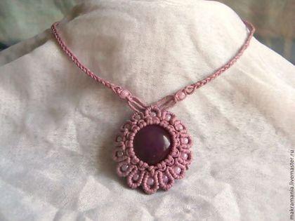 """Купить Кулон """"Цветочный леденец"""" - розовый, плетеный кулон, натуральный агат, кулон с камнем"""