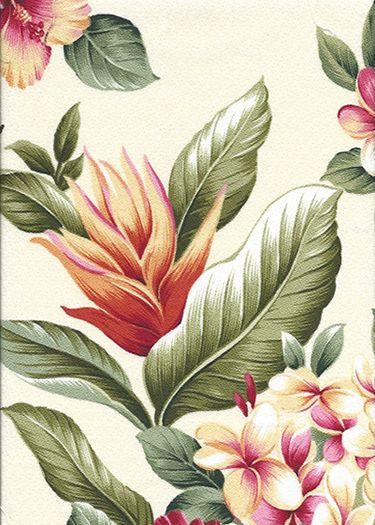 Olelo Natural - a Tropical Botanical Vintage style Hawaiian Fabric with Hibiscus, plumeria, ginger, and leaves. A floral print on a cotton upholstery barkcloth..