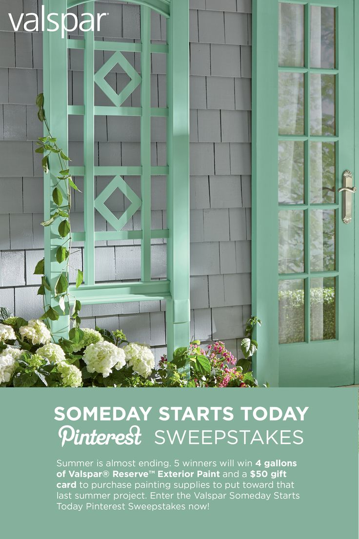 Summer is almost ending. 5 winners will win 4 gallons of Valspar Reserve Exterior Paint and a $50 gift card to purchase painting supplies to put toward that last summer project. Enter the Valspar Someday Starts Today Pinterest Sweepstakes now at http://sweeps.piqora.com/ValsparPaint!