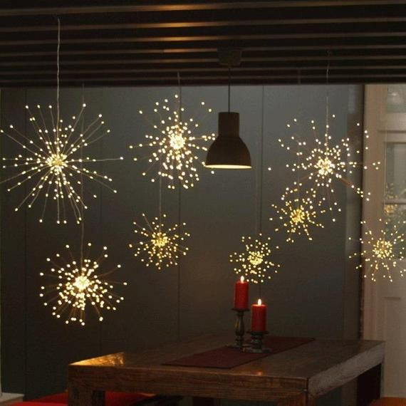 Led Starburst Fairy Lights Remote Control Hanging Copper Starburst Led Lights Wedding Home Decor Remote Firework Christmas Firework Light Starburst Light Hanging Lights Fairy Lights
